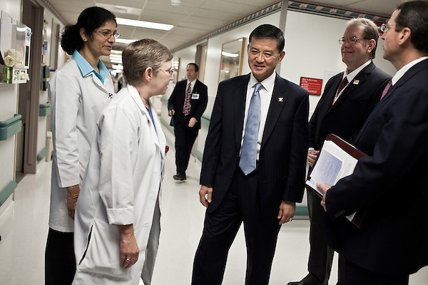 October 23, 2009. Durham, North Carolina.. Eric Shinseki, Secretary of Veterans Affairs for the Obama administration, visited Durham to meet with officials and veterans at the VA hospital, as well as to attend several events and meetings on the Duke University campus.. Sec. Shinseki, center,  took a tour of the VA hospital and met with staff and doctors.