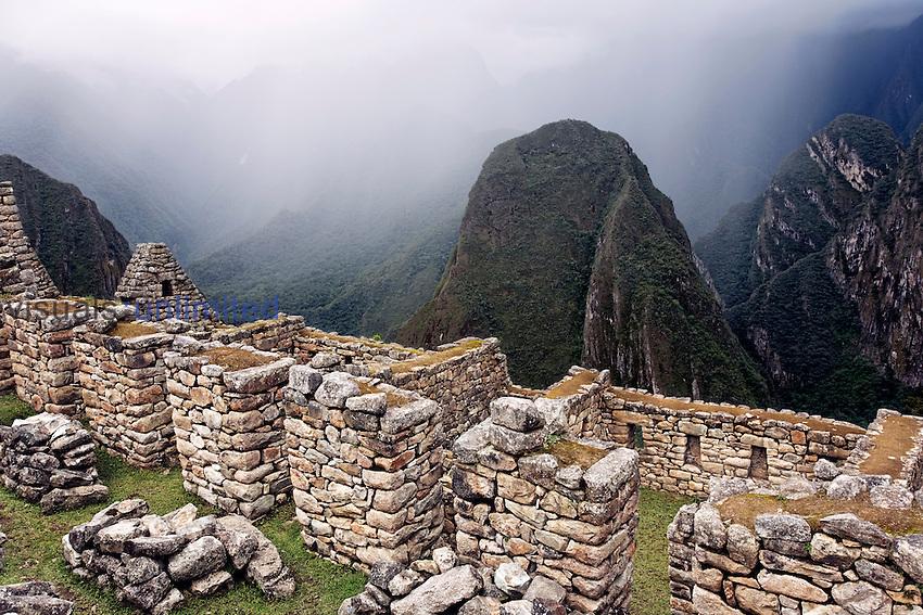 Ancient stone structures at Machu Picchu, Peru
