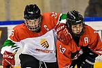 07.01.2020, BLZ Arena, Füssen / Fuessen, GER, IIHF Ice Hockey U18 Women's World Championship DIV I Group A, <br /> Ungarn (HUN) vs Japan (JPN), <br /> im Bild voller Koerpereinsatz von Emma Kreisz (HUN, #13), Kaho Suzuki (JPN, #13)<br /> <br /> Foto © nordphoto / Hafner