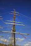 Rigging on the German training tall ship Roald Amundsen , docked in Santa Cruz harbour. Tenerife,Canary Islands.