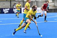 2nd February 2020; Sydney Olympic Park, Sydney, New South Wales, Australia; International FIH Field Hockey, Australia versus Great Britain; Jake Harvie of Australia runs with the ball