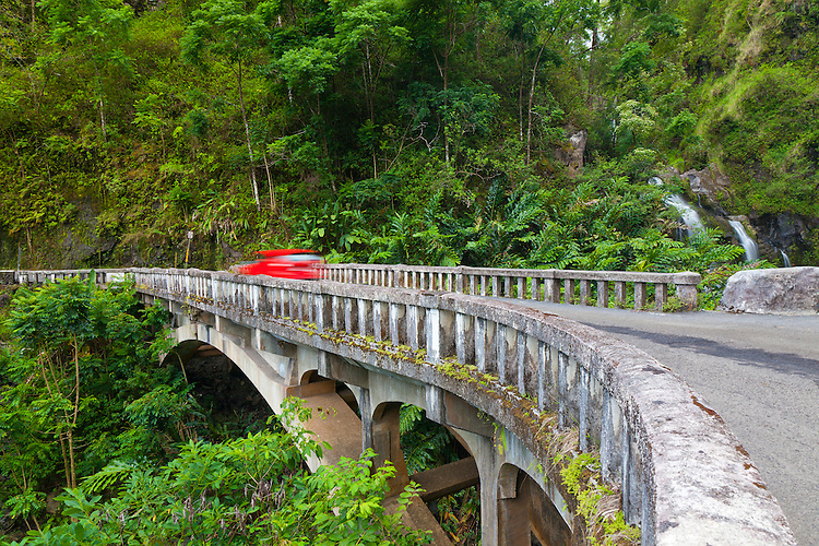 One of the many historc bridges that can be found along the road to Hana.  On the Mauka (mountain) side of the road is Upper Waikani Falls, (otherwise knows as three bears falls)