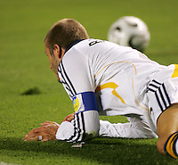 Los Angeles Galaxy midfielder (23) David Beckham lays on the turf after being injured in the first half of the SuperLiga finals between the Los Angeles Galaxy of MLS and CF Pachuca of FMF at the Home Depot Center, Carson, CA, on August 29, 2007. Pachuca wins 4-3 on penalty kicks after the game finished in a 1-1 tie.