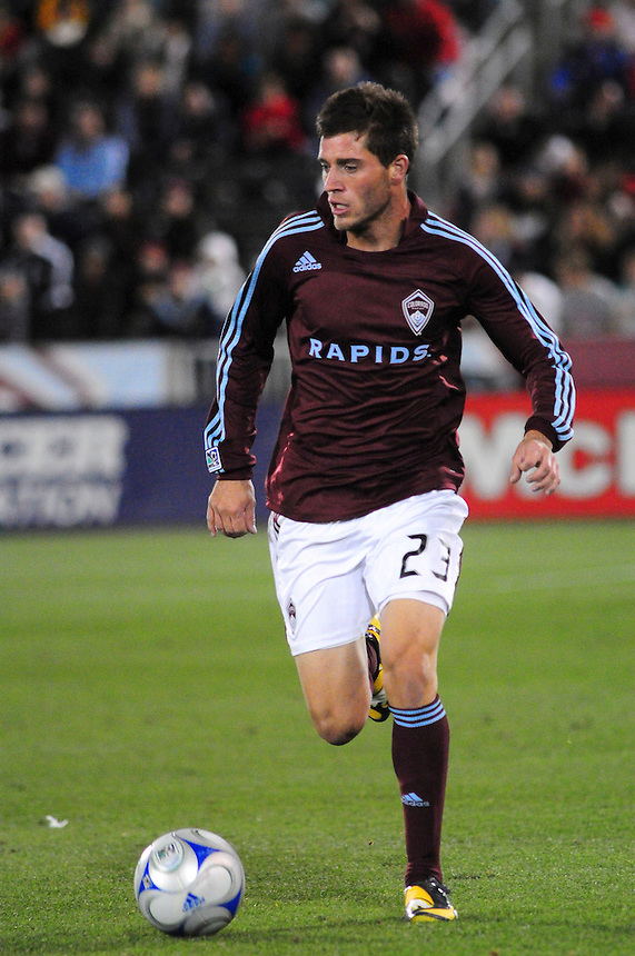 25 October 08: Rapids midfielder Colin Clark (23) advances the ball against Real Salt Lake. Real Salt Lake tied the Colorado Rapids 1-1 at Dick's Sporting Goods Park in Commerce City, Colorado. The tie advanced Real Salt Lake to the playoffs.