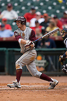 Caleb Shofner #1 of the Texas A&M Aggies follows through on his swing versus the UC-Irvine Anteaters  in the 2009 Houston College Classic at Minute Maid Park February 27, 2009 in Houston, TX.  The Aggies defeated the Anteaters 9-2. (Photo by Brian Westerholt / Four Seam Images)