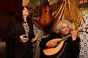 Lisbon, Portugal. 05.05.2015. Filipa Tavares, Fadista, sings at restaurant Coracao de Alfama, accompanied by Mucio Sa, on Portuguese Guitar. Photograph © Jane Hobson.