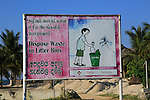Dispose Waste in Litter Bins sign, Pasikudah Bay, Eastern Province, Sri Lanka, Asia