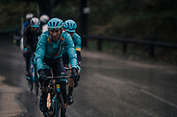 Team Astana trying to force a breakaway on the first climb of the day<br /> <br /> 76th Paris-Nice 2018<br /> Stage 8: Nice > Nice (110km)