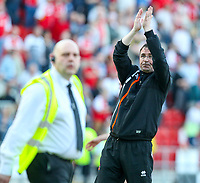 Blackpool manager Gary Bowyer applauds the fans after the match<br /> <br /> Photographer Alex Dodd/CameraSport<br /> <br /> The EFL Sky Bet League One - Rotherham United v Blackpool - Saturday 5th May 2018 - New York Stadium - Rotherham<br /> <br /> World Copyright &copy; 2018 CameraSport. All rights reserved. 43 Linden Ave. Countesthorpe. Leicester. England. LE8 5PG - Tel: +44 (0) 116 277 4147 - admin@camerasport.com - www.camerasport.com