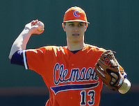 Clemson pitcher Trent Rothlin (13) warms up prior to a game between the Clemson Tigers and Mercer Bears on Feb. 23, 2008, at Doug Kingsmore Stadium in Clemson, S.C. Photo by: Tom Priddy/Four Seam Images