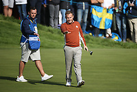 Tyrrell Hatton (Team Europe) on the 12th during Saturday's Fourballs, at the Ryder Cup, Le Golf National, &Icirc;le-de-France, France. 29/09/2018.<br /> Picture David Lloyd / Golffile.ie<br /> <br /> All photo usage must carry mandatory copyright credit (&copy; Golffile | David Lloyd)