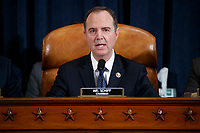 Democratic Chairman of the House Permanent Select Committee on Intelligence Adam Schiff delivers opening remarks during the House Permanent Select Committee on Intelligence public hearing on the impeachment inquiry into US President Donald J. Trump, on Capitol Hill in Washington, DC, USA, 19 November 2019. The impeachment inquiry is being led by three congressional committees and was launched following a whistleblower's complaint that alleges US President Donald J. Trump requested help from the President of Ukraine to investigate a political rival, Joe Biden and his son Hunter Biden.<br /> Credit: Shawn Thew / Pool via CNP/AdMedia