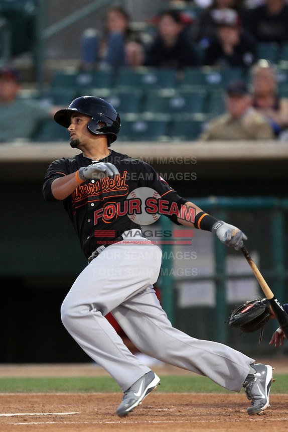David Vidal # 3 of the Bakersfield Blaze bats against the Lancaster JetHawks at Clear Channel Stadium on May 7, 2012 in Lancaster,California. (Larry Goren/Four Seam Images)