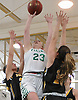 Maddie O'Hagan #23 of Seaford, center, looks to score from beneath the hoop during a non-league varsity girls basketball game against Wantagh at Seaford High School on Friday, Dec. 29, 2017. She scored a game-high 24 points to lead the Lady Vikings to a wire-to-wire 65-56 win.