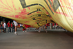 19 June 2006: Spain fans unfurl a giant banner outside the stadium. Spain played Tunisia at the Gottlieb-Daimler Stadion in Stuttgart, Germany in match 31, a Group H first round game, of the 2006 FIFA World Cup.