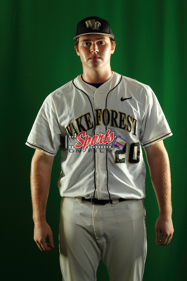 Jack Carey (20) poses during a photo session at Wake Forest Baseball Park on January 15, 2013 in Winston-Salem, North Carolina.    (Brian Westerholt/Sports On Film)
