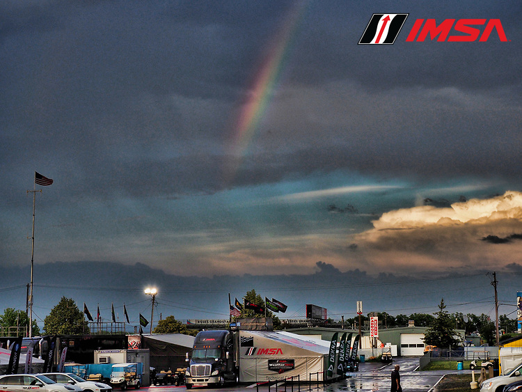 IMSA WeatherTech SportsCar Championship<br /> Sahlen's Six Hours of the Glen<br /> Watkins Glen International, Watkins Glen, NY USA<br /> Saturday 1 July 2017<br /> Paddock, rainbow<br /> World Copyright: Michael L. Levitt/LAT Images