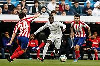 1st February 2020; Estadio Santiago Bernabeu, Madrid, Spain; La Liga Football, Real Madrid versus Atletico de Madrid; Ferland Mendy (Real Madrid)  takes on Camello of Atletico