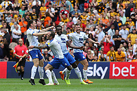 Tranmere Rovers players run towards Connor Jennings, who scored the only goal of the match, at the final whistle as they celebrate promotion to Division One during Newport County vs Tranmere Rovers, Sky Bet EFL League 2 Play-Off Final Football at Wembley Stadium on 25th May 2019
