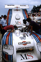 LE MANS, FRANCE: The Lancia Martini LC1 of Rolf Stommelen, Teo Fabi and Michele Alboreto is serviced in the pit lane before practice for the 24 Hours of Le Mans on June 20, 1982, at Circuit de la Sarthe in Le Mans, France.