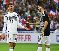 Thomas Mueller (Deutschland Germany), Mark Uth (Deutschland Germany)- 16.10.2018: Frankreich vs. Deutschland, 4. Spieltag UEFA Nations League, Stade de France, DISCLAIMER: DFB regulations prohibit any use of photographs as image sequences and/or quasi-video.