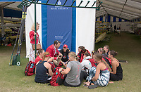 Henley-on-Thames. United Kingdom.  2017 Henley Royal Regatta, Henley Reach, River Thames. <br /> <br /> Ohio State university Squad outside the boat tents with Coach.<br /> <br /> 12:56:21  Friday  30/06/2017<br /> <br /> [Mandatory Credit. Intersport Images].