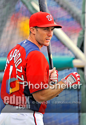 7 March 2012: Washington Nationals infielder Stephen Lombardozzi awaits his turn in the batting cage prior to a game against the St. Louis Cardinals at Space Coast Stadium in Viera, Florida. The teams battled to a 3-3 tie in Grapefruit League Spring Training action. Mandatory Credit: Ed Wolfstein Photo