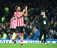 Lincoln City's Michael Bostwick applauds the fans at the final whistle<br /> <br /> Photographer Andrew Vaughan/CameraSport<br /> <br /> Emirates FA Cup Third Round - Everton v Lincoln City - Saturday 5th January 2019 - Goodison Park - Liverpool<br />  <br /> World Copyright &copy; 2019 CameraSport. All rights reserved. 43 Linden Ave. Countesthorpe. Leicester. England. LE8 5PG - Tel: +44 (0) 116 277 4147 - admin@camerasport.com - www.camerasport.com