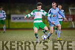 Fergal O'Donoghue Killarney Celtic clears the danger away against Shannon in the FAI cup in Killarney on Saturday