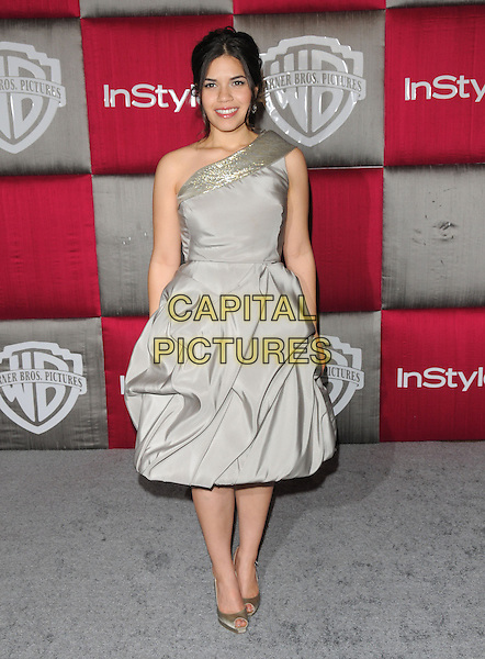 AMERICA FERRERA .The 10th Annual Instyle & WB Golden Globes After Party held at Oasis Court in The Beverly Hilton Hotel in Beverly Hills, California, USA..January 11th, 2009.full length grey gray silver one shoulder dress peep toe shoes silk satin .CAP/DVS.©Debbie VanStory/Capital Pictures.