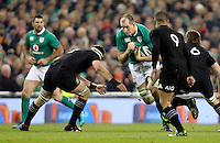 19th November 2016 | IRELAND vs NEW ZEALAND<br /> <br /> Devin Toner is tackled by Kieran Read during the Autumn Series International clash between Ireland and New Zealand at the Aviva Stadium, Lansdowne Road, Dublin,  Ireland. Photo by John Dickson/DICKSONDIGITAL