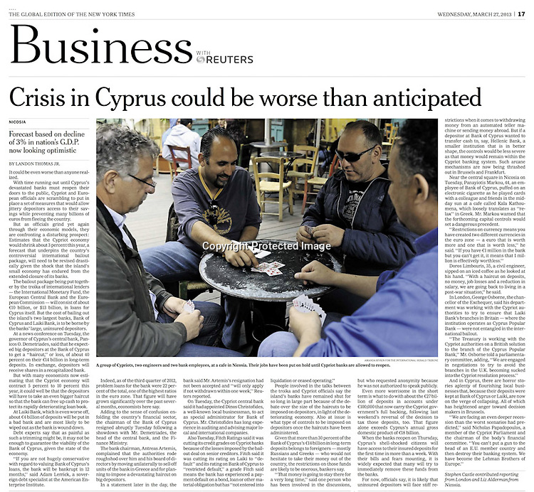 """A group of Cypriots, two civil engineers and two bank employees, at a cafe in Nicosia. Their jobs have been put on hold until Cypriots banks are allowed to reopen. """"Crisis in Cyprus could be worse than anticipated,"""" photograph by Amanda Rivkin for The International Herald Tribune, March 27, 2013, p. 17."""
