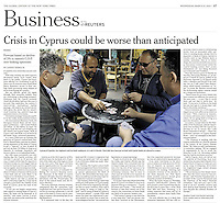 "A group of Cypriots, two civil engineers and two bank employees, at a cafe in Nicosia. Their jobs have been put on hold until Cypriots banks are allowed to reopen. ""Crisis in Cyprus could be worse than anticipated,"" photograph by Amanda Rivkin for The International Herald Tribune, March 27, 2013, p. 17."