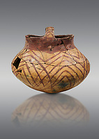 Chalcolithic decorated terra cotta basket pot. Circa 5000BC. Catalhoyuk collection, Konya Archaeological Museum, Turkey. Against a gray background