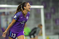 Orlando, FL - Thursday September 07, 2017: Alex Morgan celebrates her goal during a regular season National Women's Soccer League (NWSL) match between the Orlando Pride and the Seattle Reign FC at Orlando City Stadium.