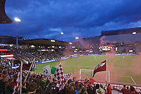 Portland, OR - Saturday, May 21, 2016: Portland Thorns FC fans celebrate a goal. The Portland Thorns FC defeated the Washington Spirit 4-1 during a regular season National Women's Soccer League (NWSL) match at Providence Park.
