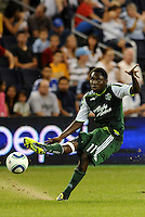 Kalif Alhassan (11) midfielder Portland Timbers crosses the ball... Sporting Kansas City defeated Portland Timbers 3-1 at LIVESTRONG Sporting Park, Kansas City, Kansas.
