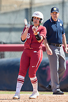 NWA Democrat-Gazette/BEN GOFF @NWABENGOFF<br /> Aly Manzo, Arkansas shortstop, hits a single in the 4th inning vs South Carolina Sunday, March 17, 2019, at Bogle Park in Fayetteville.