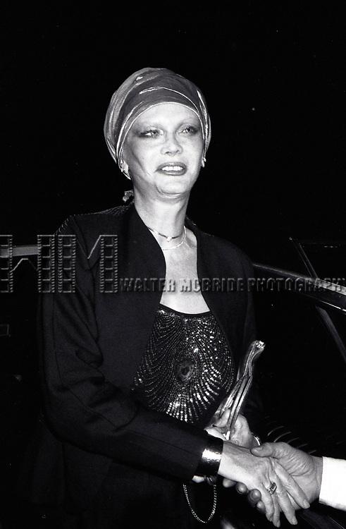 Monique Van Vooren attends a Broadway Show on September 1, 1982 in New York City.