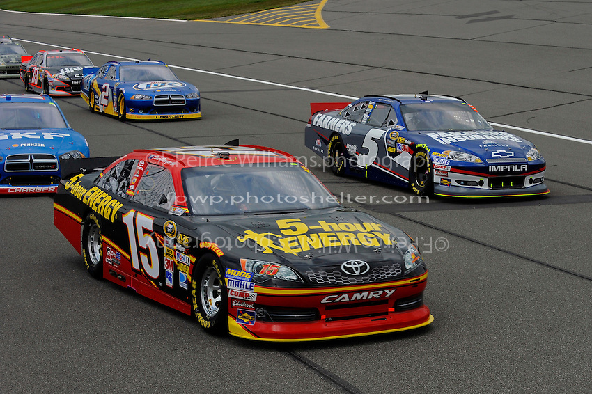 Clint Bowyer, (#15) 5-hour ENERGY Camry and Kasey Kahne (#5).
