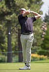 Bronson Burgoon swings during the Barracuda Championship PGA golf tournament at Montrêux Golf and Country Club in Reno, Nevada on Sunday, July 28, 2019.