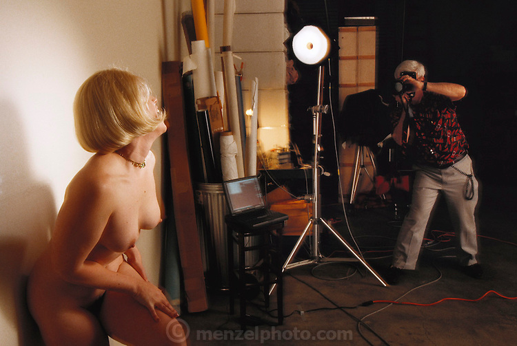 "Silicon Valley, California; Romana Machado being photographed for her ""Peek of the week"" web site where she sells nude pictures of herself. Model released. (1999)."