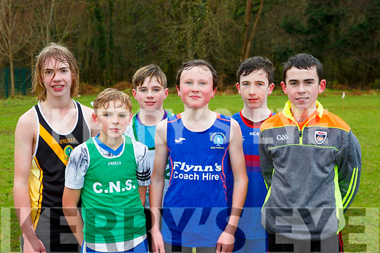 The winners in the Minor boys race at the Kerry Schools Cross Country championships in Killarney on Friday l-r: Coren Hughes Mercy Mounthawk 2nd, Ronan Teahan Colaiste na Sceilige 4th, Aodhan O'Neill St Brendans Killarney, Cian Spillane Presentation Milltown, Conall O'Mahony 5th, Jack O'Keeffe St Michael Listowel 3rd