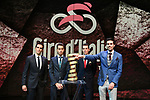 Alberto Contador (ESP), Fabio Aru and Vincenzo Nibali (ITA) and Tom Dumoulin (NED) on stage at the Giro d'Italia 2018 Route Presentation held in the RAI TV Studios, Milan, Italy. 29th November 2017.<br /> Picture: LaPresse/Fabio Ferrari | Cyclefile<br /> <br /> <br /> All photos usage must carry mandatory copyright credit (&copy; Cyclefile | LaPresse/Fabio Ferrari)