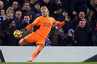 Kasper Schmeichel of Leicester city during Chelsea vs Leicester City, Premier League Football at Stamford Bridge on 13th January 2018