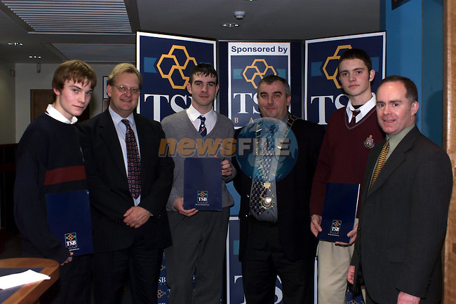Paul Dillon St Mary's school bank manager, Asst Manager TSB Bank Drogheda John Finnamore, Dylan Mathews St Josephs School bank manager, mayor Sean Collins, Robert Gaynor St. Olivers school bank manager and TSB Bank manager Donagh O'Brien at the presentation night held in the TSB Bank Drogheda..Pic Fran Caffrey Newsfile..(Supplied on behalf of the TSB Bank)..Camera:   DCS620C.Serial #: K620C-01974.Width:    1728.Height:   1152.Date:  5/12/99.Time:   17:24:04.DCS6XX Image.FW Ver:   1.9.6.TIFF Image.Look:   Product.Tagged.Counter:    [499].Shutter:  1/40.Aperture:  f8.0.ISO Speed:  200.Max Aperture:  f1.8.Min Aperture:  f22.Focal Length:  50.Exposure Mode:  Manual (M).Meter Mode:  Color Matrix.Drive Mode:  Continuous High (CH).Focus Mode:  Continuous (AF-C).Focus Point:  Center.Flash Mode:  Normal Sync.Compensation:  +0.0.Flash Compensation:  +0.0.Self Timer Time:  10s.White balance: Auto (Flash).Time: 17:24:04.751.