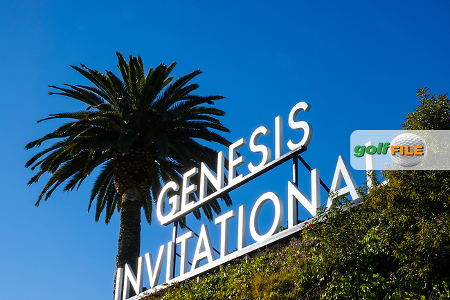 Signage on the 1st tee during previews of the The Genesis Invitational, Riviera Country Club, Pacific Palisades, Los Angeles, USA. 10/02/2020<br /> Picture: Golffile | Phil Inglis<br /> <br /> <br /> All photo usage must carry mandatory copyright credit (© Golffile | Phil Inglis)