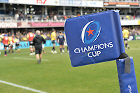 11th January 2020, Parc des Sports Marcel Michelin, Clermont-Ferrand, Auvergne-Rhône-Alpes, France; European Champions Cup Rugby Union, ASM Clermont versus Ulster;  A corner flag showing the Champions cup logo