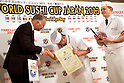 "March 8, 2013, Chiba, Japan - Staff of the restaurant ""Tokyo"" from Romania receive the ""Gold Sushi Restaurant Award"" at the World Sushi Cup Japan 2013, Restaurant Competition in Makuhari. Word's top class Sushi Chefs from overseas and Japan attend the ""World Sushi Cup Japan 2013"" to show their creativity and inspiration for making sushi. The competition evaluates the sanitary and quality control management and methods as well as localizing taste and design. The contest was held fist time ever in conjunction with FOODEX Japan 2013. (Photo by Rodrigo Reyes Marin/AFLO).."