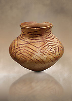 Chalcolithic decorated terra cotta pot. Circa 5000BC. Catalhoyuk collection, Konya Archaeological Museum, Turkey